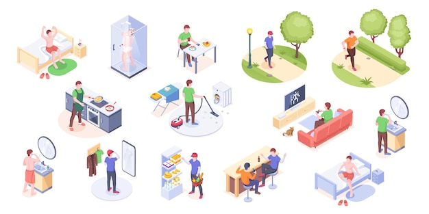 Man daily life home routine and everyday life isometric icons man daily work day and leisure