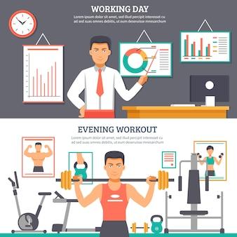 Man daily routine banner set
