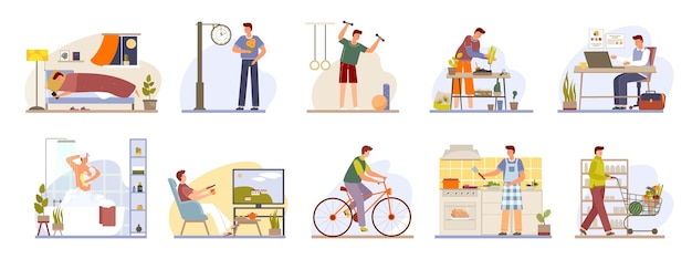 Man daily routine icons set day work and rest life schedule isolated illustration