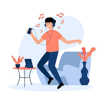 Man dancing and listening to music