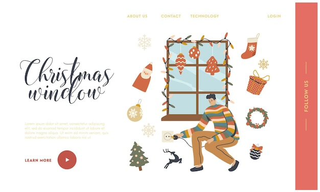Man decorating window with christmas landing page template. garland decor, balls, socks and fir tree branch. character preparing for xmas winter season holidays celebration. linear vector illustration