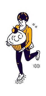 食品の等角図を配達する男、男は彼の手で大きなマフィン、ケーキを運ぶ