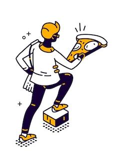 食品の等角図を配信する男、男は彼の手で大きなピザのピースを運ぶ