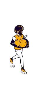 食品の等角図を配信する男、男は彼の手で大きな野菜や果物を運ぶ