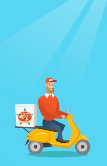 Man delivering pizza on scooter.