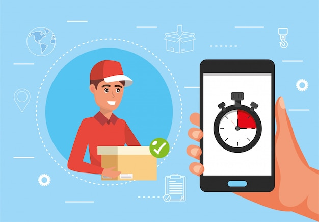 Man delivery with package and hand with smartphone and chronometer