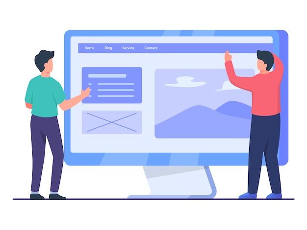 男性のデザイナーがフロントの大画面コンピューターのパートナーと共同で作業し、フラットな漫画のスタイルで優れたuiウェブサイトのデザインを作成します。