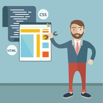 Man designing a web