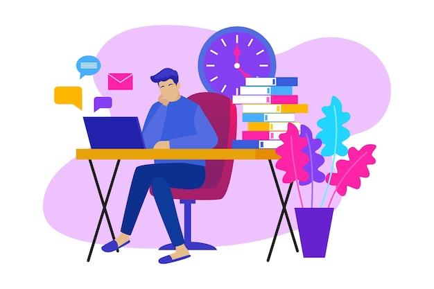Man at desk postpone concept