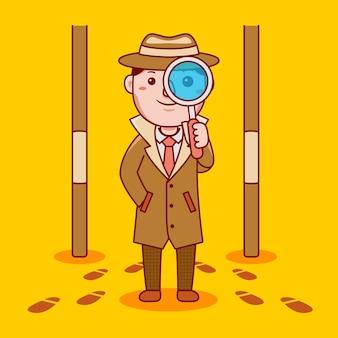 Человек детективной профессии в плоском мультяшном стиле