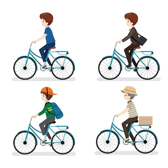 Man of diffent ages riding bicycle with different actions