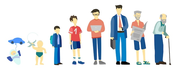 Man in different age. from child to old person. teenager, adult and baby generation. aging process.
