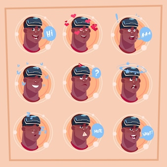 Man different face african american male emoji wearing 3d virtual glasses emotion icon avatar facial