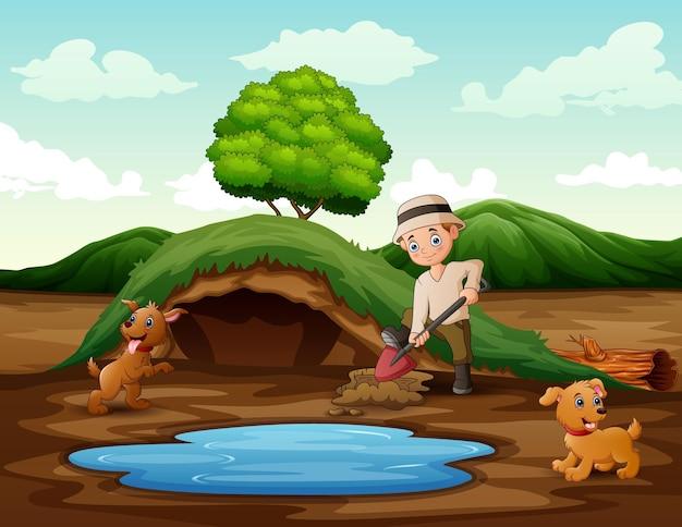 Человек копает почву лопатой возле небольшого пруда