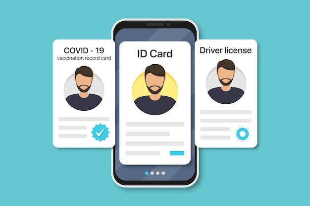 Man digital documents in smartphone. covid-19 vaccination record card, id card, driver license in a flat design. vector illustration