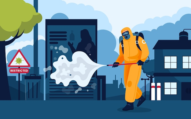 Man disinfecting empty city