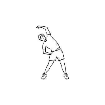 Человек делать упражнения на растяжку рисованной наброски каракули значок. здоровье и фитнес, концепция утренней гимнастики