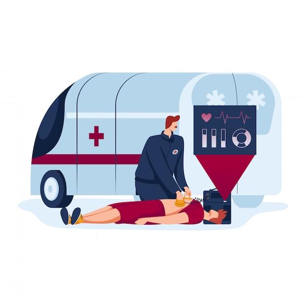 남자 의사, 미래 의학, 환자를위한 응급 응급 처치