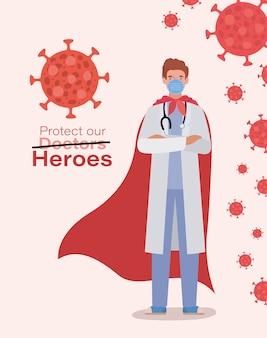 Covid 19 cov感染コロナ流行病の症状と医療テーマイラストの2019 ncovウイルスデザインに対するケープ付き男性医師ヒーロー
