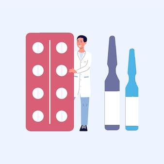 Человек-врач или фармацевт стоит и держит таблетки, таблетки и ампулы, концепцию аптеки или аптеки, плоский мультфильм