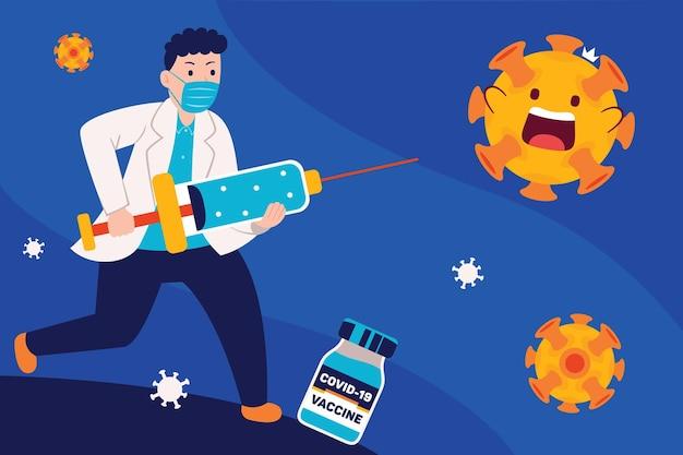 남자 의사는 백신으로 바이러스를 예방합니다