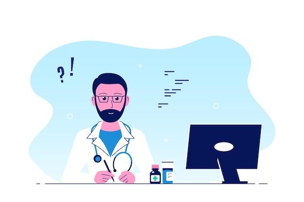 남자 의사는 사무실에있는 테이블에 앉아