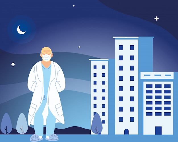 의료 및 covid 19 바이러스 테마의 병원 건물 디자인 앞에 마스크 남자 의사