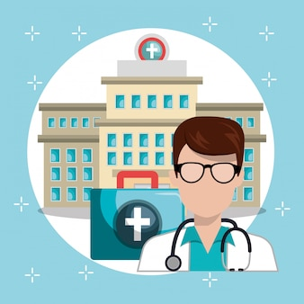 Man doctor with medical services icons