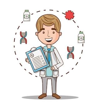 Man doctor with prescription diagnosis and uniform