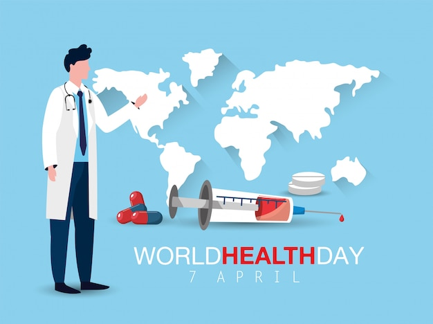 Man doctor with syringe to world health day