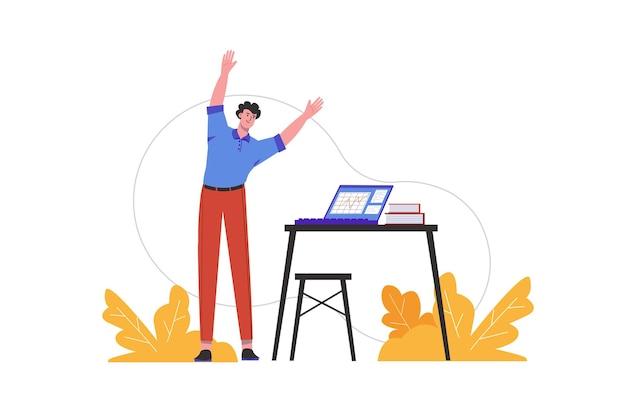 男性はオフィスの職場でウォームアップを行います。作業中に運動をしている従業員、人々のシーンは孤立しています。健康的なライフスタイルと身体活動の概念。フラットミニマルデザインのベクトル図