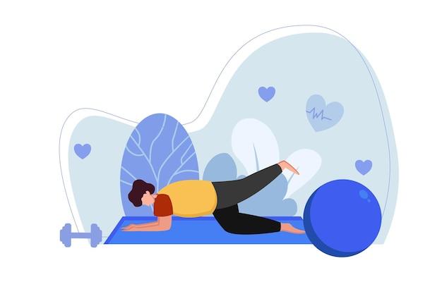 Человек делает позу лежа на матрасе иллюстрации йоги