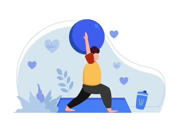 Человек делает позу йоги с мячом на матрасе иллюстрации