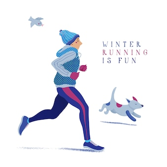 Man and dog running, jogging in winter