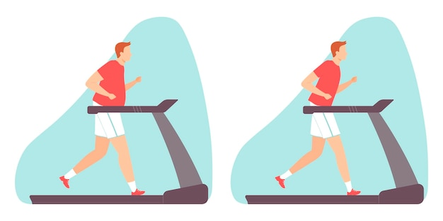 Man doing cardio exercise on a treadmill fat and slim man vector illustration in flat style
