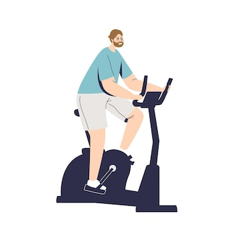 Man doing cycling exercises on stationery bicycle. sport, fitness and workout concept. cartoon male character training