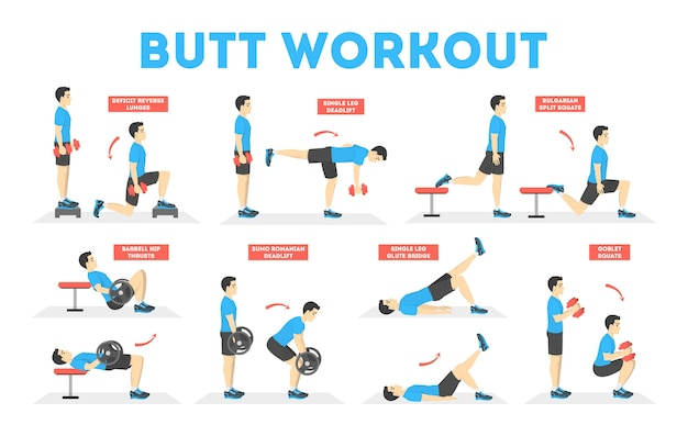Человек делает разные упражнения для тела