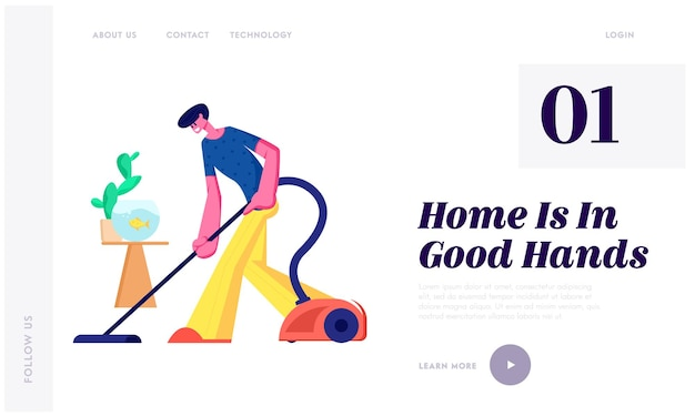 Man doing domestic work, cleaning floor every day routine chores, householder vacuuming home with vacuum cleaner in living room website landing page, web page. cartoon flat vector illustration
