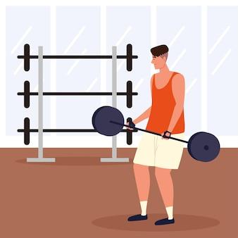 運動をしている男