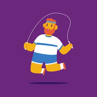 Man doing fitness exercise with jumping rope cartoon character isolated on background.