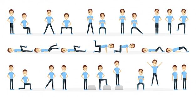 피트 니스 운동을하는 사람 (남자) 화이트에 설정합니다.