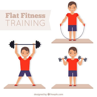 Man doing fitness in flat design