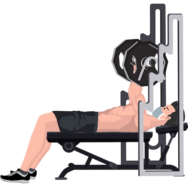 Man doing fitness using bench press at gym