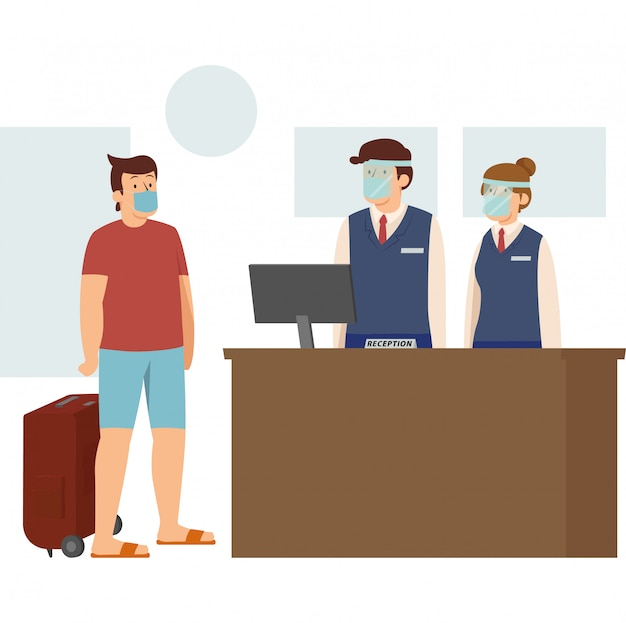 A man doing hotel check-in during new normal while keep using medical mask Premium Vector