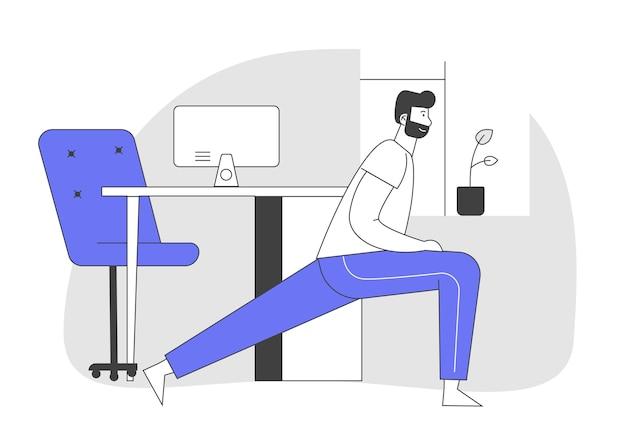 Мужчина делает утреннюю зарядку или перерыв в рабочее время дома