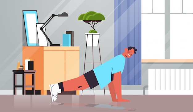 Man doing push ups exercises at home guy having workout cardio fitness training healthy lifestyle sport concept living room interior full length illustration