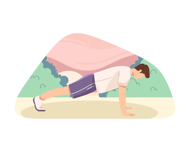 Man doing push ups vector flat illustration