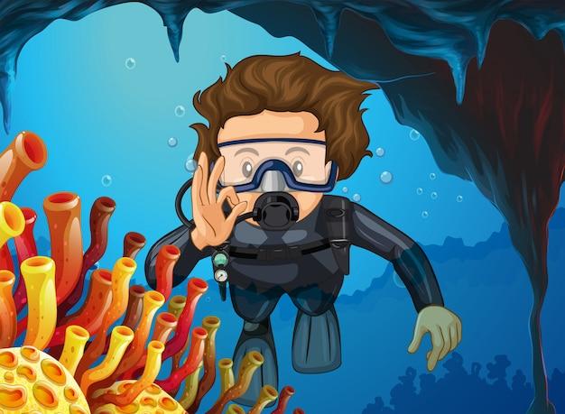 Человек делает подводное плавание под океаном