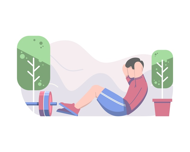 Man doing sit up vector flat illustration