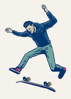 Man doing skateboard trick drawn in vintage hand drawing style